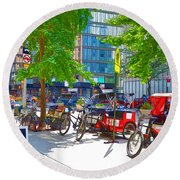 Pedal Taxis 1 Round Beach Towel