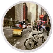 Peddle It Manhattan Round Beach Towel
