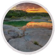 Pedernales River Sunrise, Texas Hill Country 8257 Round Beach Towel