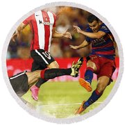Pedro Rodriguez Kicks The Ball  Round Beach Towel