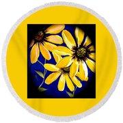 Peekaboo Sunflowers Round Beach Towel
