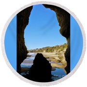 Peeking From Coastal Cave Round Beach Towel