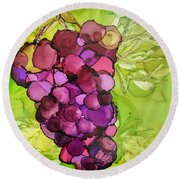 Peel Me A Grape Round Beach Towel