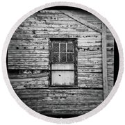 Peeling Wall And Cool Window At Fort Delaware On Film Round Beach Towel