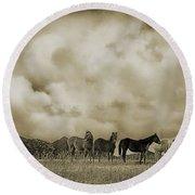 Peeples Valley Horses In Sepia Round Beach Towel