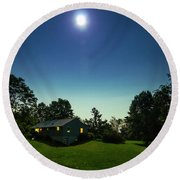 Pegasus And Moon Over The Shenandoah Valley Round Beach Towel