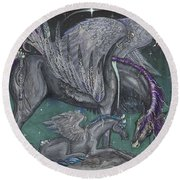 Pegasus Mare And Foal Round Beach Towel
