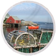Peggys Cove And Lobster Traps Round Beach Towel