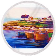 Peggys Cove  Four  Row Boats Round Beach Towel