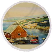 Peggys Cove  Harbor View Round Beach Towel
