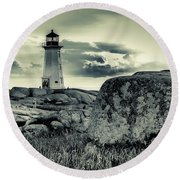 Peggys Cove Lighthouse Round Beach Towel