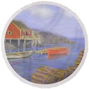 Peggy's Cove Lobster Pots Round Beach Towel
