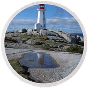 Peggys Cove Nova Scotia Canada Round Beach Towel