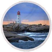 Peggy's Point Lighthouse, Nova Scotia, Canada Round Beach Towel