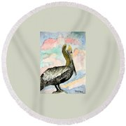 Pelican 2  Round Beach Towel
