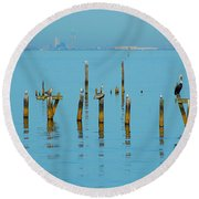 Pelican And Mobile Round Beach Towel