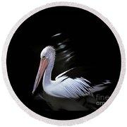 Pelican At Dusk Round Beach Towel
