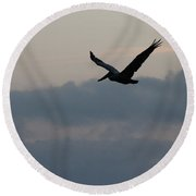 Pelican At Dusk Round Beach Towel