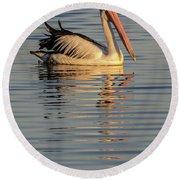 Pelican At Sunset 1 Round Beach Towel