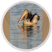 Pelican At Sunset 2 Round Beach Towel