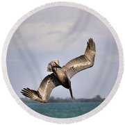 Pelican Diving For Dinner Round Beach Towel