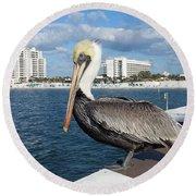 Pelican -florida Round Beach Towel