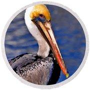Pelican Head Shot Round Beach Towel