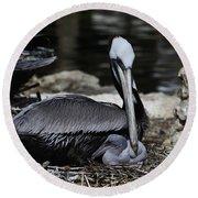 Pelican Hug Round Beach Towel