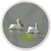 Pelican In Colorado Round Beach Towel