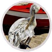 Pelican In Mykonos II Round Beach Towel