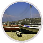 Pelican In Mykonos Round Beach Towel