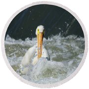 Pelican In Rough Water Round Beach Towel