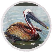 Pelican In The Water Round Beach Towel