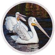 Pelican Love Round Beach Towel