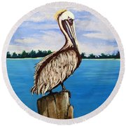 Pelican On Post 2 Round Beach Towel