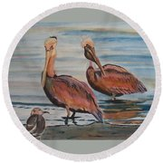 Pelican Party Round Beach Towel