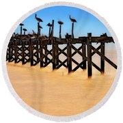 Pelican Pier Near Pass Christian - Mississippi Round Beach Towel