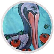 Pelican Poppies 1 Round Beach Towel