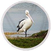 Pelican Pose Round Beach Towel