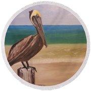 Pelican Rest Stop Round Beach Towel