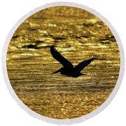 Pelican Silhouette - Golden Gulf Round Beach Towel