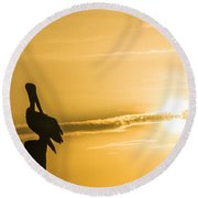 Pelican Silhouette At Sunset Round Beach Towel