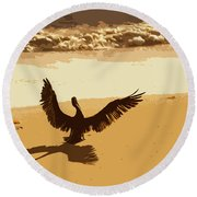 Pelican Spreads It's Wings Round Beach Towel