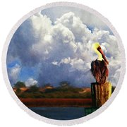 Pelican Storms Round Beach Towel