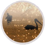 Pelican Sunrise Round Beach Towel