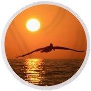 Pelican Sunset Round Beach Towel