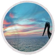 Pelican Sunset Round Beach Towel