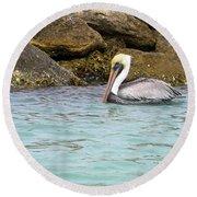 Pelican Trolling Round Beach Towel
