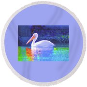 Pelican With Blue Round Beach Towel