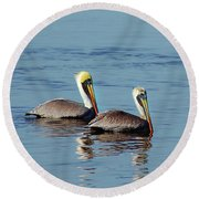 Pelicans 2 Together Round Beach Towel